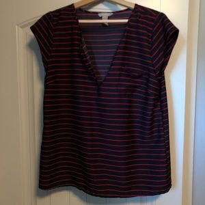 Navy blue and red striped v-neck blouse from BR.